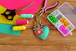 Handmade keychain felt embellished with beads. Bright felt heart keychain, woman's or children's key chain. Organizer with beads, scissors, pliers, felt sheets, needle, thread. Set for kids craft