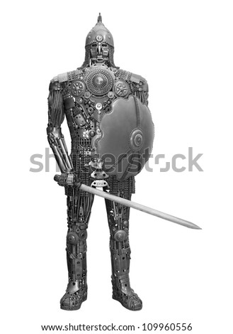 handmade knight made from spares, isolated on white