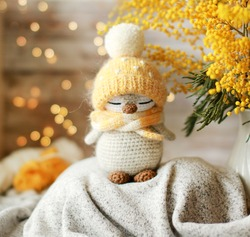 Handmade knitted toy. Amigurumi penguin toy. Crochet stuffed animals. Miniature crochet penguin