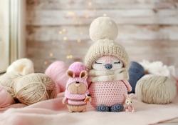 Handmade knitted toys. Amigurumi toys. Crochet stuffed animals. Bunnies and penguin. Miniature crochet dolls