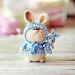 Handmade knitted toys. Easter bunnies. Amigurumi stuffed animals. Two mini bunnies/ Miniature crochet toy