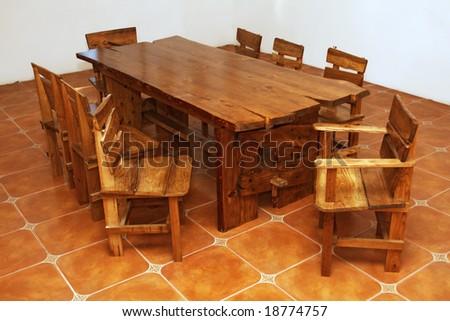 bespoke kitchen tables uk ireland stock photo handmade large table pine