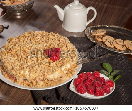 """Handmade layered cake. """"Napoleon"""" or """"medovik""""or other layered cake in Russian Quisine #1057670897"""