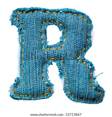 Handmade letter of jeans alphabet