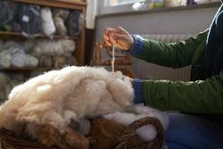 handmade manufacturing yarns from natural sheep wool