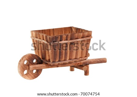 Handmade model of an wooden cart standing isolated on white background