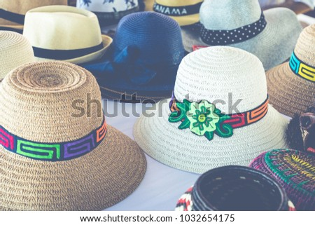 ae7157c610a5c Handmade Panama Hats at the traditional outdoor market. Popular souvenir  from Central America.