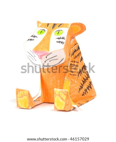 Handmade paper smiling    tiger iwolated over white background