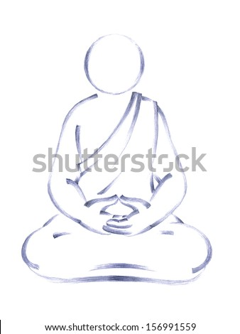 handmade pencil drawing of a person sitting in yoga position
