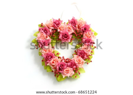 Handmade pink and red bouquet Rose In Love heart Shape Valentine in close-up - stock photo