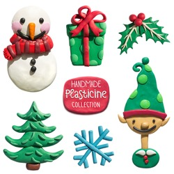 Handmade plasticine Christmas objects collection. Christmas and New Year holiday symbols. All objects are plasticine handmade.