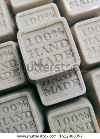 Handmade rice and barley bar soap. This bar soap is using 100% handmade silicon mold.