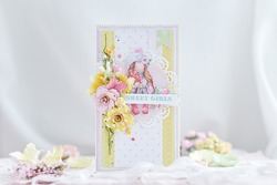Handmade scrapbooking greeting card for girl with flowers, spring and romantic style