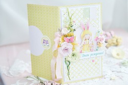 Handmade scrapbooking greeting card for girl with flowers, spring and romantic style   Title on Russian - Happy Birthday