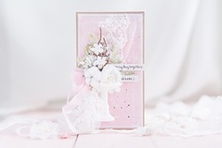 Handmade scrapbooking greeting card for wedding with flowers