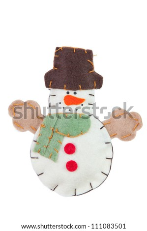 Handmade Snowman decoration, isolated over white
