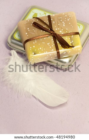Handmade soap and metal box