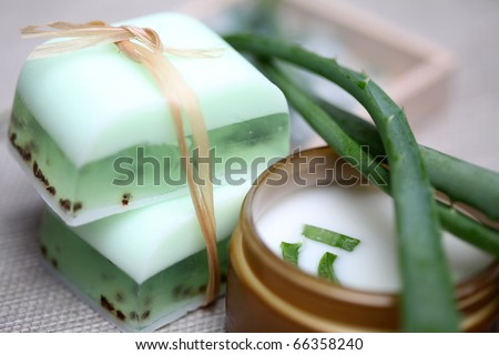Handmade Soap Bars, Aloe, Vera Leaves And Moisturizer Composition ...