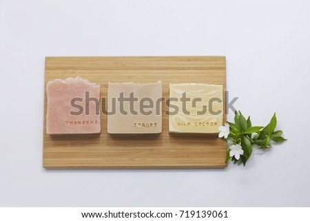 Handmade Soap closeup in wooden plate
