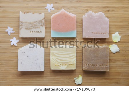 Handmade Soap closeup. Natural Soap making. Soap bars closeup. Spa treatments, skin care concept