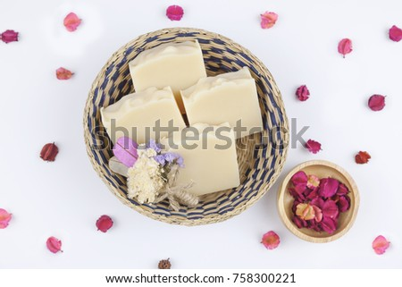 Handmade Soap closeup. Natural Soap making. Soap bars closeup. Spa treatments, skin care concept