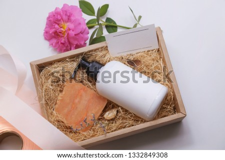 Handmade soap in gift box with white background. Cold process. Natural.