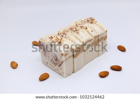 Handmade soap in white background with space. Closeup. #1032124462