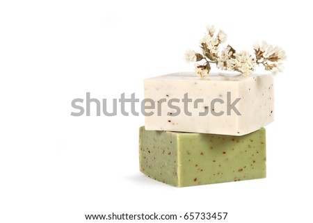 Handmade Soap on a white background with space for text