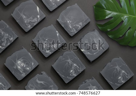 Handmade soap with black background. soap. natural.