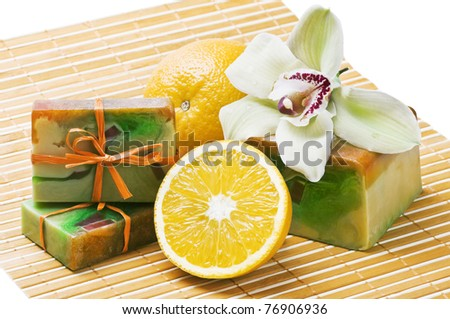 handmade soap with the scent of oranges and orchids