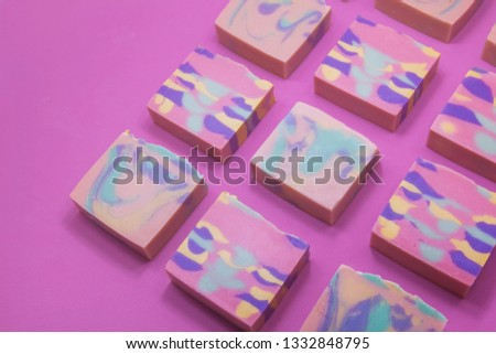 Handmade soap with white background. Cold process. Natural.