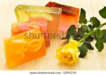 Handmade soaps and yellow rose