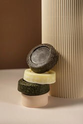 Handmade solid soap or shampoo or conditioner bars in the bathroom. Concept nature zero waste cosmetics. Balance between natural products
