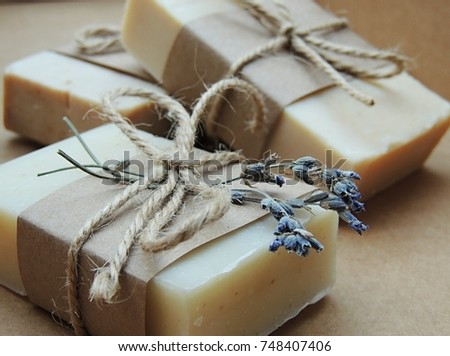 Handmade spa lavender soap on dark background. Soap making. Soap bars. Spa, skin care.