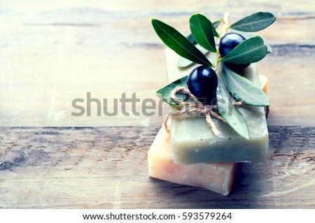 Handmade Spa Olive Oils Soap closeup. Organic Soap making. Soap bars closeup. Spa treatments, skin care concept