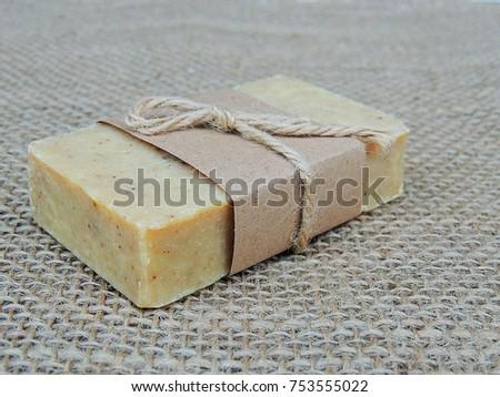 Handmade spa soap on burlap background. Soap making. Soap bars. Spa, skin care.