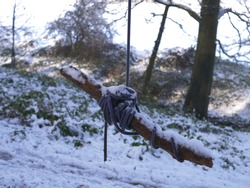 Handmade swing in winter icy woodland wide shot