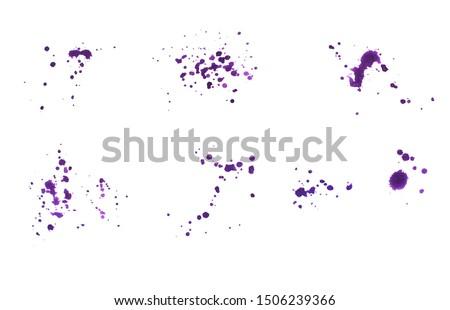 Photo of  Handmade texture watercolour stain, ink splash on paper / White background (Purple)