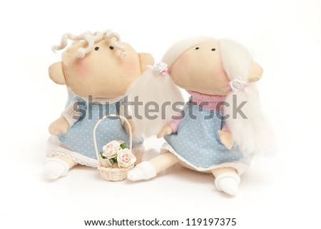 handmade toys boy and girl on the white