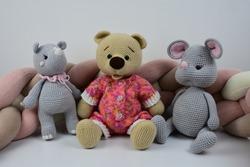 Handmade toys on white background. Elephant, Mouse, Mermaid, Monkey, Hippo, Bear, Bird, Doll.