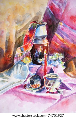 handmade watercolor still life with a jug, sugar bowl and a burning candle - stock photo