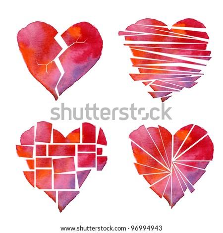 handmade Watercolour red heart poster