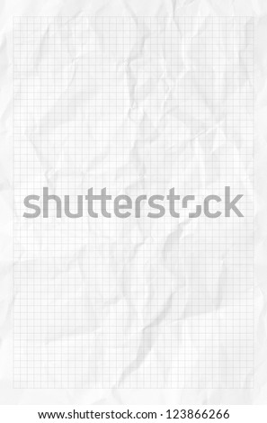 Handmade white graph grid scale crumpled paper texture or background