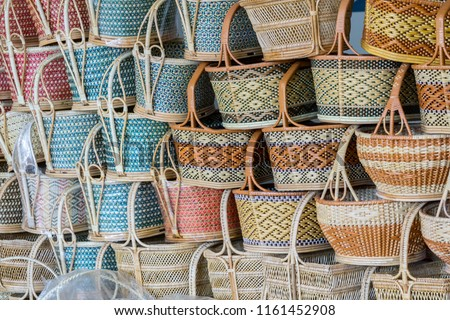Handmade wicker basket Made from natural bamboo and rattan.Handmade Thai handicrafts.