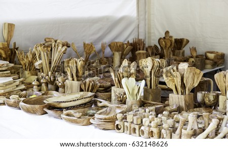 Handmade wooden spoon with carving instruments Images and