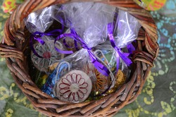 Handmade wooden decorations in whicker basket