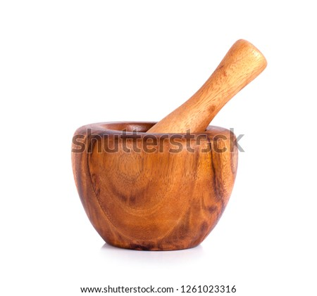 Handmade wooden mortar isolated on white background #1261023316