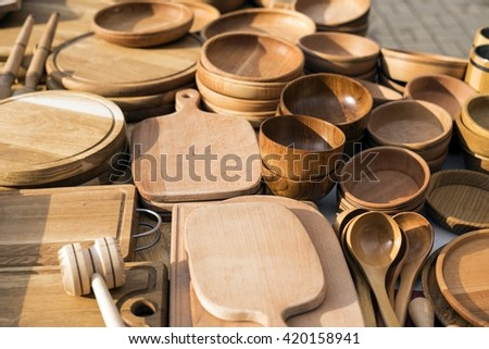 Handmade wooden vintage kitchen utensils for sale at the market. Various wooden kitchen tools & Free photos Handmade wooden vintage kitchen utensils for sale at ...