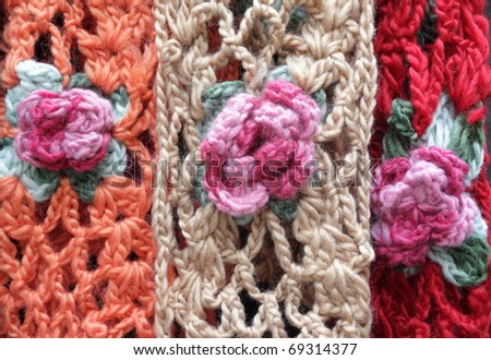 Handmade Woolen Scarfs With Floral Motif For Sale Stock Photo 69314377  Handmade Scarves For Sale Online