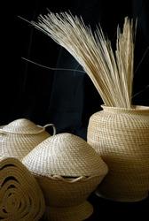 Handmade woven South American vegetable fiber baskets